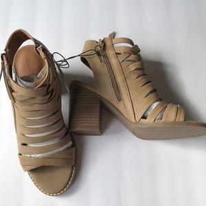 Elda Microsuede Open Toe Heeled Pump Sandals 6.5